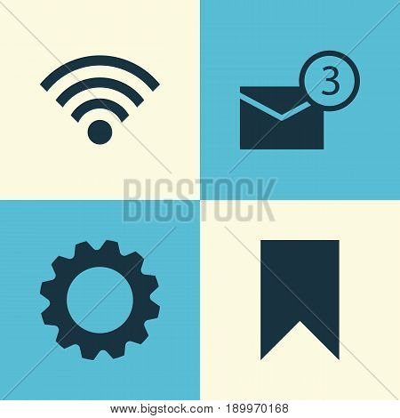 Social Icons Set. Collection Of Gear, Flag, Wireless Connection And Other Elements. Also Includes Symbols Such As Gear, Wireless, Notification.