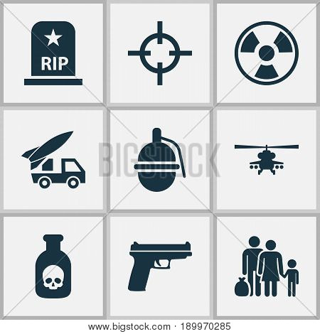 Warfare Icons Set. Collection Of Danger, Fugitive, Weapons And Other Elements. Also Includes Symbols Such As Grave, Military, Rockets.