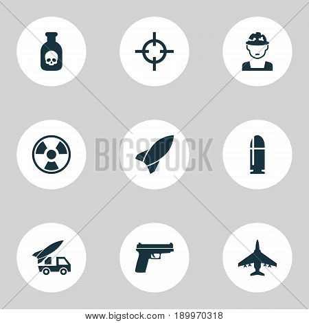 Combat Icons Set. Collection Of Ordnance, Danger, Missile And Other Elements. Also Includes Symbols Such As Hazard, Bomber, Target.