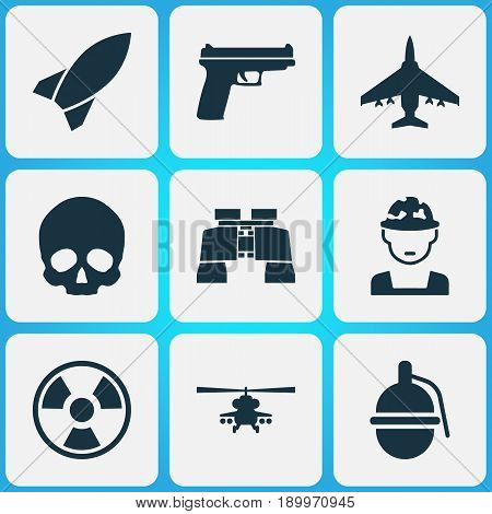 Battle Icons Set. Collection Of Military, Dangerous, Glass And Other Elements. Also Includes Symbols Such As Hazard, Military, Gun.