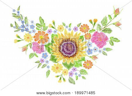 Sunflower field wild floral embroidery arrangement neckline decoration. Fashion textile floral clothing print.Colourful daisy small blue herb rose vector illustration art