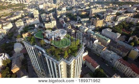 Kiev, Ukraine, June 5, 2017. Summer morning in Kiev, roof garden,  aerial view