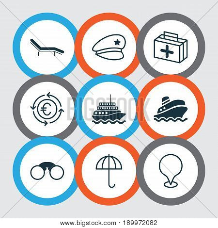 Travel Icons Set. Collection Of Pair Of Glasses, Gingham, Map Pointer And Other Elements. Also Includes Symbols Such As Aid, Chair, Gingham.