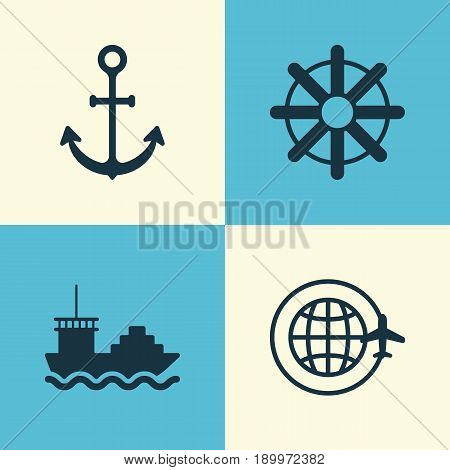 Travel Icons Set. Collection Of Cargo Boat, Ship Hook, Steering Wheel And Other Elements. Also Includes Symbols Such As Ship, World, Shipping.