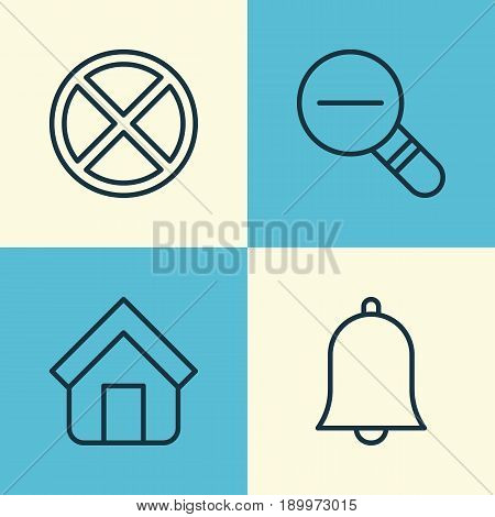 Internet Icons Set. Collection Of Exit, Alert, Estate And Other Elements. Also Includes Symbols Such As Estate, Zoom, Cancel.