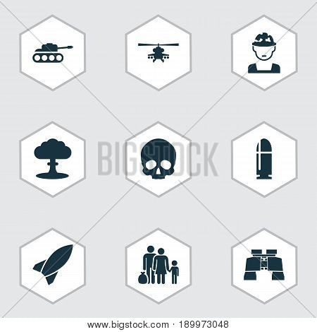 Warfare Icons Set. Collection Of Military, Panzer, Atom And Other Elements. Also Includes Symbols Such As Rocket, Bullet, Shot.