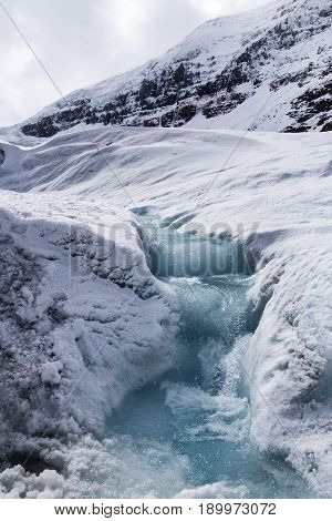 Clean glacier water running down from the Athabasca Glacier in Alberta Canada.