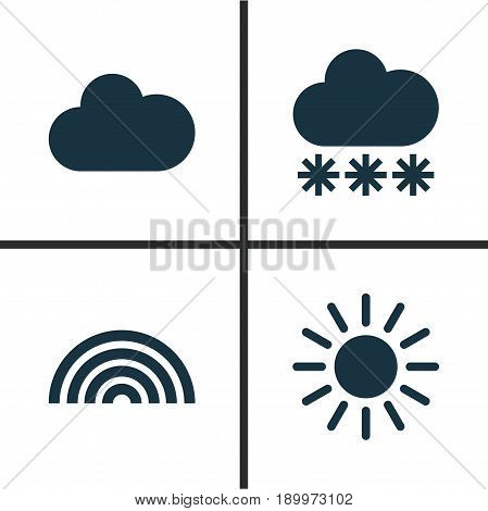 Weather Icons Set. Collection Of Colors, Cloudy, Snowy And Other Elements. Also Includes Symbols Such As Rain, Snowy, Hate.