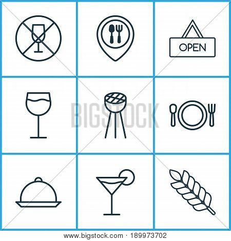 Restaurant Icons Set. Collection Of Cocktail, Wheat, Food Mapping And Other Elements. Also Includes Symbols Such As Cocktail, Alcohol, Restaurant.