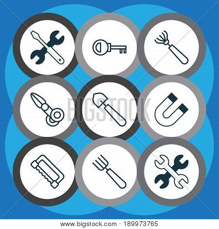 Apparatus Icons Set. Collection Of Garden Fork, Password, Spanner And Other Elements. Also Includes Symbols Such As Scoop, Fork, Screwdriver.