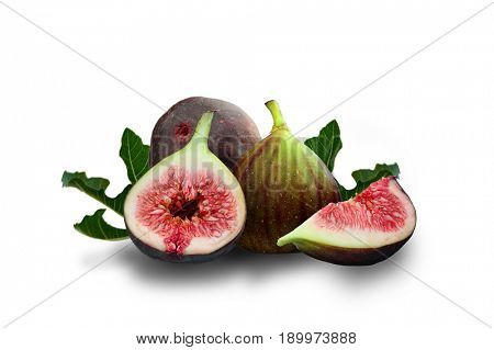 Extreme close-up image of purple figs studio isolated on white background