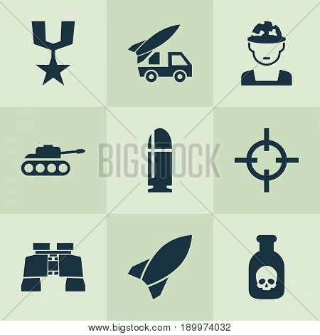 Battle Icons Set. Collection Of Order, Ordnance, Military And Other Elements. Also Includes Symbols Such As Soldier, Target, Rocket.