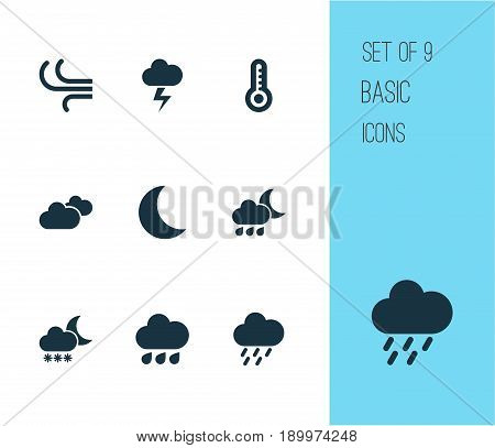 Weather Icons Set. Collection Of Night, Nightly, Weather And Other Elements. Also Includes Symbols Such As Cold, Outbreak, Lightning.