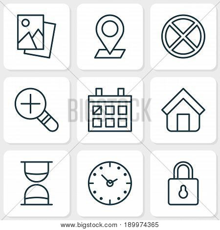 Network Icons Set. Collection Of Hourglass, Increase Loup, Exit And Other Elements. Also Includes Symbols Such As Clock, Estate, Cancel.