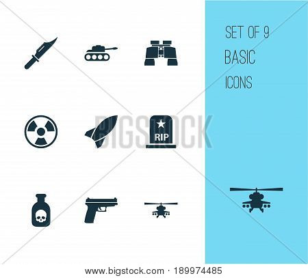 Combat Icons Set. Collection Of Glass, Weapons, Panzer And Other Elements. Also Includes Symbols Such As Tomb, Bio, Fatal.