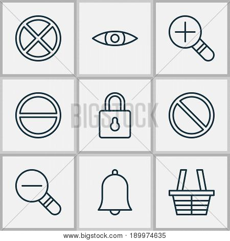 Web Icons Set. Collection Of Exit, Refuse, Obstacle And Other Elements. Also Includes Symbols Such As Eye, Zoom, Wrong.