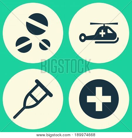 Antibiotic Icons Set. Collection Of Copter, Plus, Cure And Other Elements. Also Includes Symbols Such As Care, Rack, Stand.