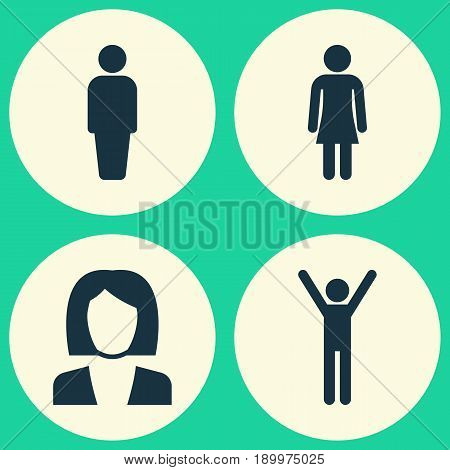 Person Icons Set. Collection Of Businesswoman, Female, Happy And Other Elements. Also Includes Symbols Such As Happy, Businesswoman, Rejoicing.