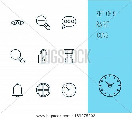 Network Icons Set. Collection Of Glance, Message Bubble, Unlock And Other Elements. Also Includes Symbols Such As Time, Clock, Alert.