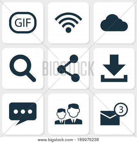 Media Icons Set. Collection Of Down Arrow, Wireless Connection, Message And Other Elements. Also Includes Symbols Such As Notification, Overcast, Down.