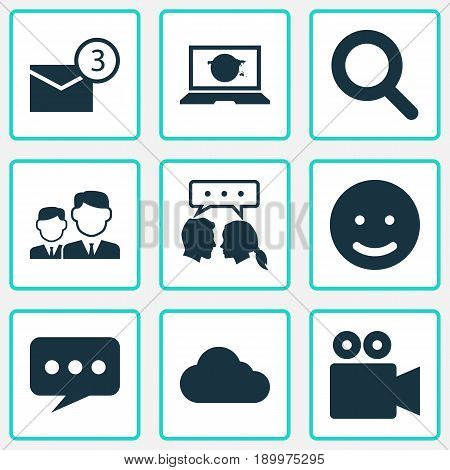 Media Icons Set. Collection Of Conversation, Smile, Inbox And Other Elements. Also Includes Symbols Such As Camcorder, Smile, Inbox.