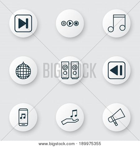 Music Icons Set. Collection Of Last Song, Song UI, Bullhorn And Other Elements. Also Includes Symbols Such As Forward, Donate, Megaphone.