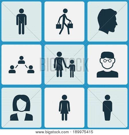 People Icons Set. Collection Of Gentleman, Family, Delivery Person And Other Elements. Also Includes Symbols Such As Member, Family, Gentleman.
