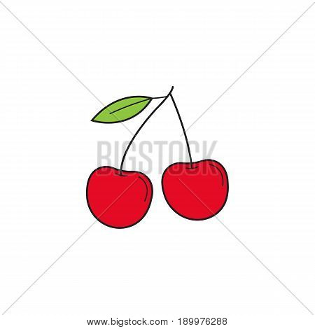 Cherry solid line icon, healthy fruit, vector graphics, a colorful linear pattern on a white background, eps 10.