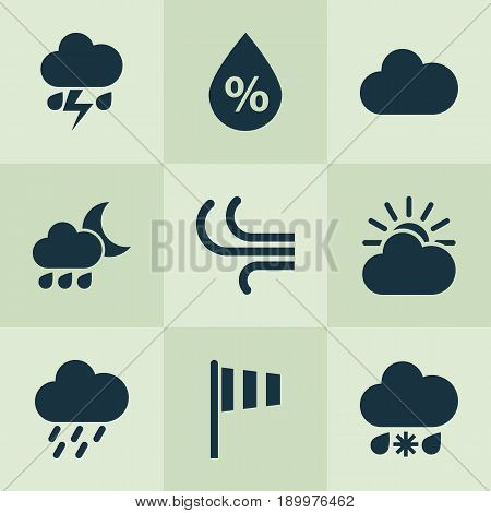 Climate Icons Set. Collection Of Flash, Breeze, Flag And Other Elements. Also Includes Symbols Such As Wet, Douche, Sleet.