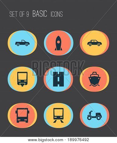 Transport Icons Set. Collection Of Omnibus, Tanker, Way And Other Elements. Also Includes Symbols Such As Rocket, Auto, Cargo.