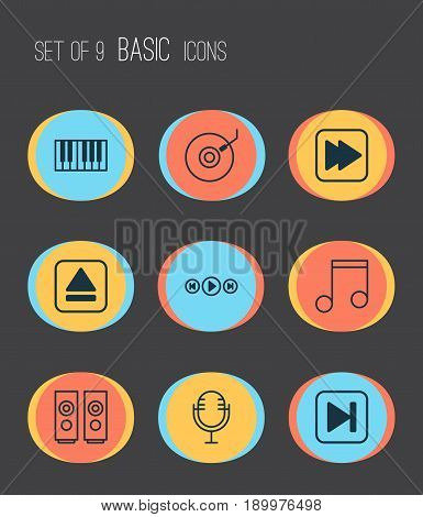 Multimedia Icons Set. Collection Of Gramophone, Following Song, Piano And Other Elements. Also Includes Symbols Such As Media, Music, Rewind.