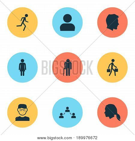 People Icons Set. Collection Of Delivery Person, Gentlewoman Head, Scientist And Other Elements. Also Includes Symbols Such As Man, Gentlewoman, Profile.