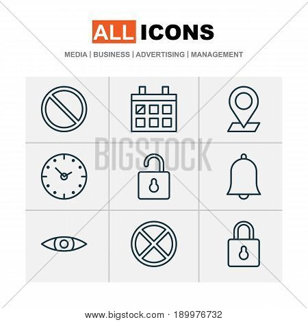 Network Icons Set. Collection Of Glance, Pinpoint, Calendar And Other Elements. Also Includes Symbols Such As Almanac, Lock, Exit.