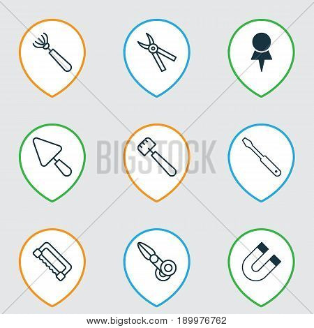 Apparatus Icons Set. Collection Of Pliers, Clippers, Carpentry And Other Elements. Also Includes Symbols Such As Harrow, Attraction, Putty.