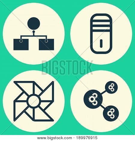 Icons Set. Collection Of Analysis Diagram, Mainframe, Laptop Ventilator And Other Elements. Also Includes Symbols Such As Cooler, Design, Algorithm.