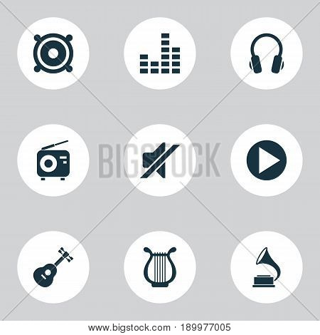 Audio Icons Set. Collection Of Earphone, Lyre, Start And Other Elements. Also Includes Symbols Such As Silent, Lyre, Radio.