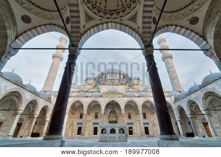 Istanbul, Turkey - April 19, 2017: Exterior low angle day shot of Suleymaniye Mosque an Ottoman imperial mosque located on the Third Hill of Istanbul Turkey and the second largest mosque in the city. built in 1557