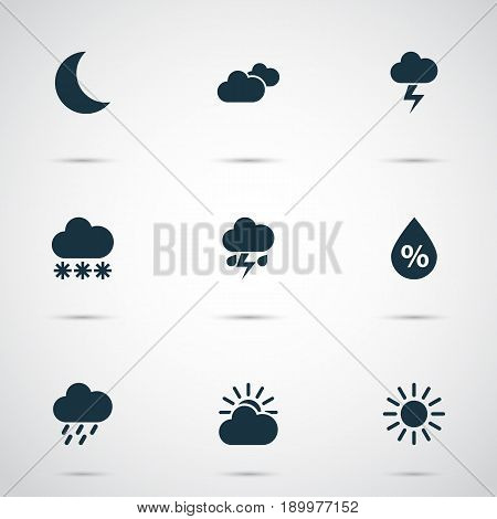 Weather Icons Set. Collection Of Moon, Lightning, Flash And Other Elements. Also Includes Symbols Such As Snow, Sun, Flash.