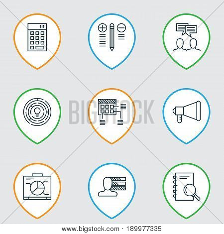 Project Icons Set. Collection Of Personal Skills, Investment, Announcement And Other Elements. Also Includes Symbols Such As Investment, Brainstorm, Meeting.