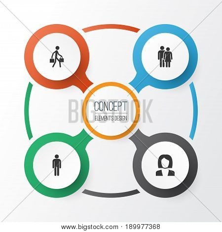 People Icons Set. Collection Of Gentleman, Delivery Person, Businesswoman And Other Elements. Also Includes Symbols Such As Delivery, Man, Businesswoman.