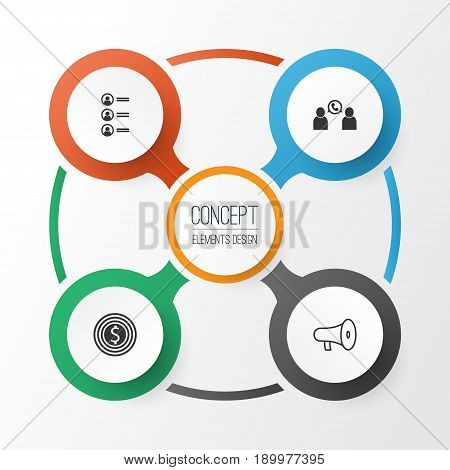 Human Icons Set. Collection Of Bullhorn, Business Goal, Job Applicants And Other Elements. Also Includes Symbols Such As Call, Speaker, Phone.