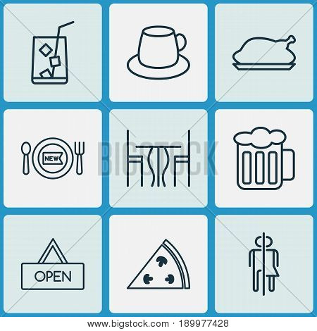 Restaurant Icons Set. Collection Of Coffee Cup, Dining Room, Board And Other Elements. Also Includes Symbols Such As Chicken, Juice, Meal.