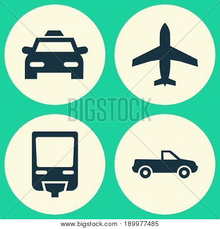 Shipment Icons Set. Collection Of Aircraft, Cabriolet, Cab And Other Elements. Also Includes Symbols Such As Airplane, Flight, Cab.