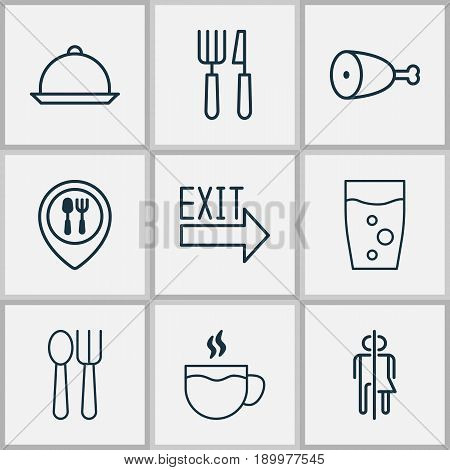 Icons Set. Collection Of Fork Knife, Cutlery, Restroom And Other Elements. Also Includes Symbols Such As Coffee, Glass, Wc.