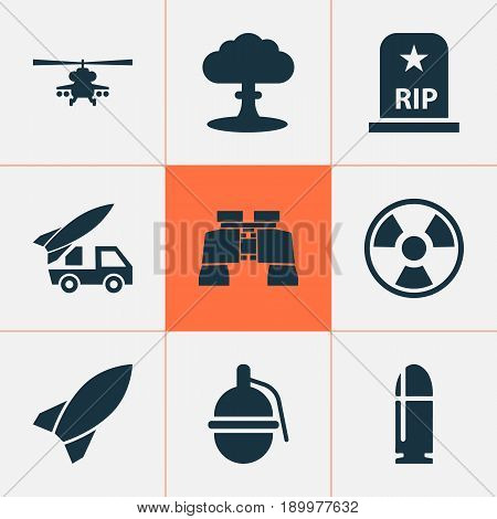 Combat Icons Set. Collection Of Ordnance, Dangerous, Missile And Other Elements. Also Includes Symbols Such As Tomb, Bomb, Atom.