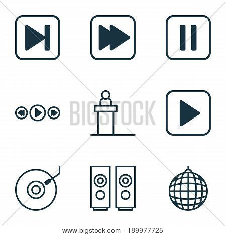 Multimedia Icons Set. Collection Of Dance Club, Rostrum, Mute Song And Other Elements. Also Includes Symbols Such As Media, Ball, Rostrum.