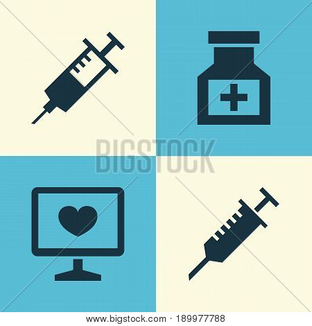 Drug Icons Set. Collection Of Diagnosis, Injection, Drug And Other Elements. Also Includes Symbols Such As Syringe, Injection, Care.