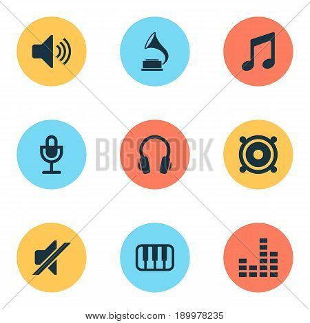 Music Icons Set. Collection Of Equalizer, Music, Mike And Other Elements. Also Includes Symbols Such As Piano, Keyboard, Mike.