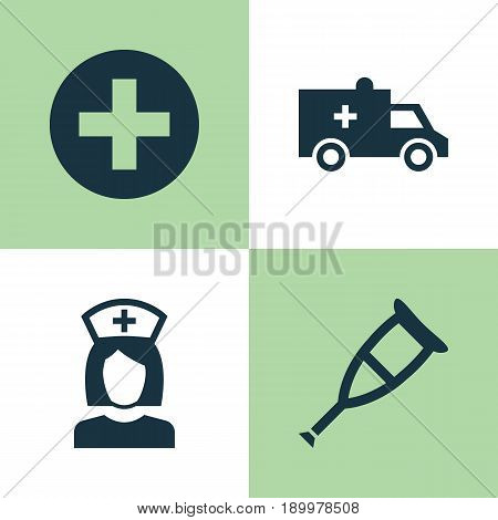 Antibiotic Icons Set. Collection Of Bus, Spike, Nanny And Other Elements. Also Includes Symbols Such As Nurse, Plus, Health.