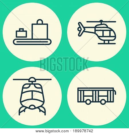 Shipping Icons Set. Collection Of Baggage Carousel, Vehicle, Flight Vehicle And Other Elements. Also Includes Symbols Such As Vehicle, Luggage, Bus.